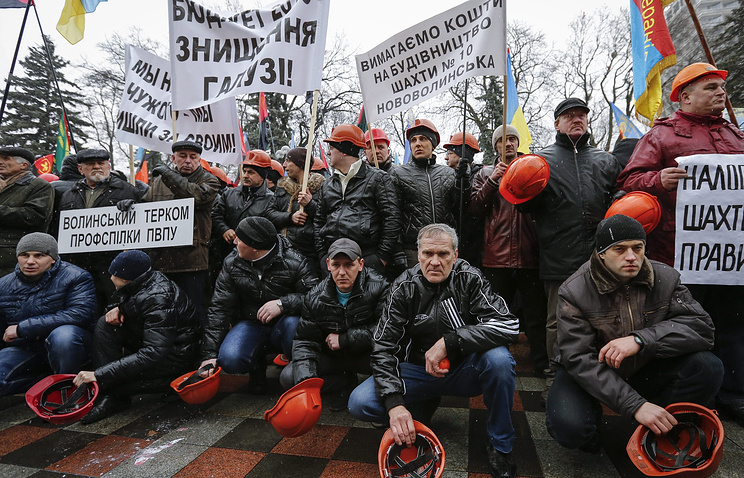 Coal miners protest in Kiev