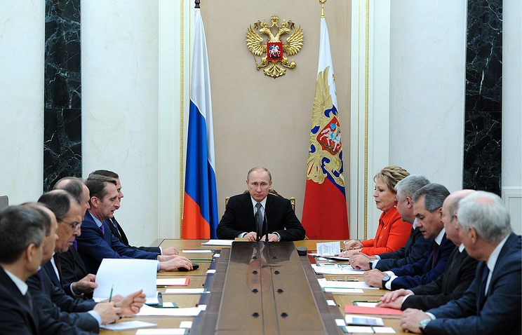 Russia's president Vladimir Putin at a meeting of the Russian Security Council
