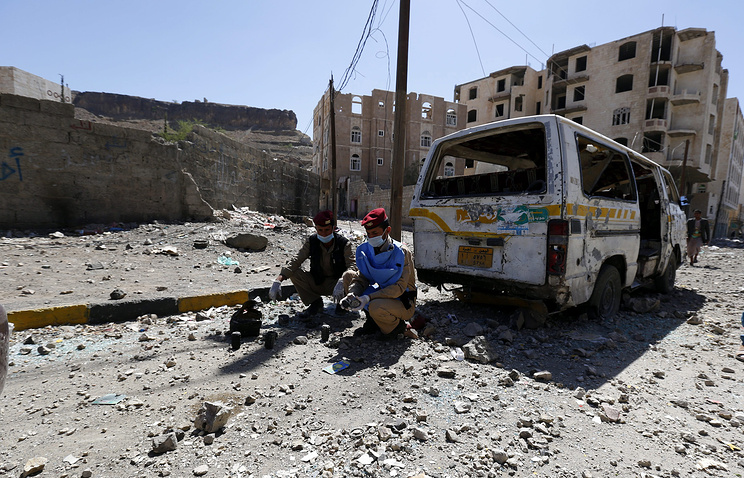 Aftermath of an airstrike in Sana'a, Yemen