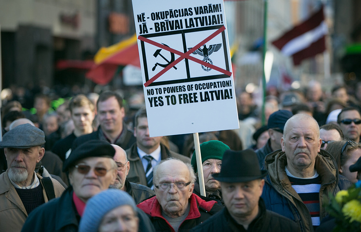 At a rally in Riga (archive)
