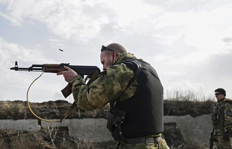 Ukrainian soldiers seen in the Donetsk Region