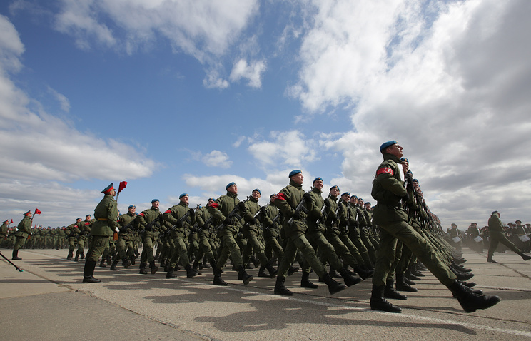 A rehearsal of the upcoming 9 May Victory Day Parade in Moscow