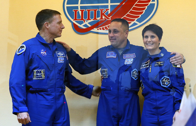 US astronaut Terry Virts, Russian cosmonaut Anton Shkaplerov and European astronaut Samantha Christoforreti