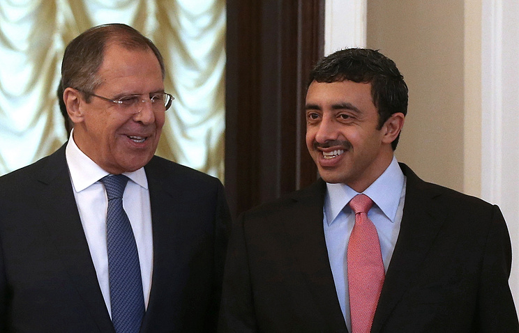Russian and UAE Foreign Ministers Sergei Lavrov and Abdallah bin Zayid Al Nuhayyan