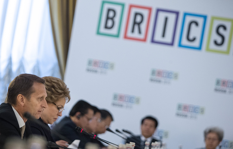 Russian State Duma's chairman Sergey Naryshkin and Russian Federation Council chairperson Valentina Matviyenko (L-R) attend the first BRICS Parliamentary Forum