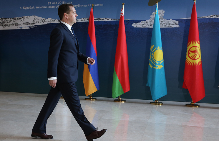 Russia's prime minister Dmitry Medvedev ahead of a meeting of the Eurasian Intergovernmental Council (archive)