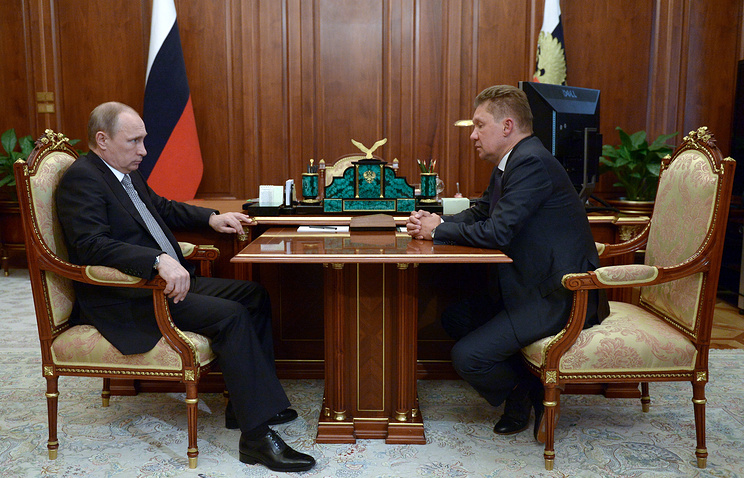 Russian President Vladimir Putin and Gazprom CEO Alexey Miller