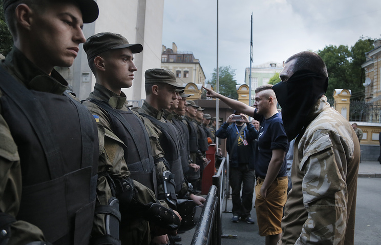 Right Sector activists during the rally in Kiev, Jul. 11