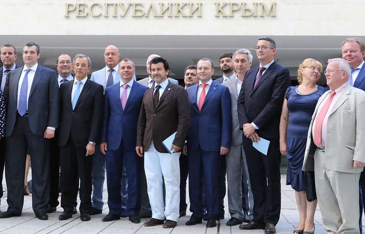 The French delegation with Russian officials