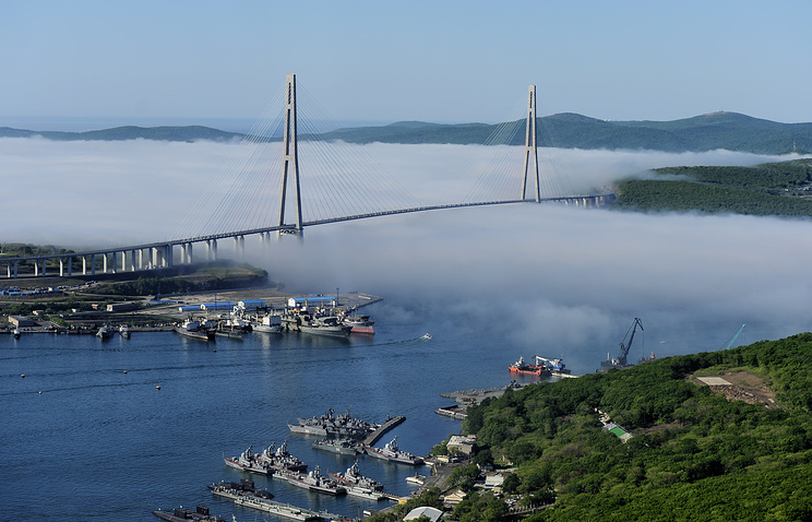 A bridge to the Russky Island in Vladivostok