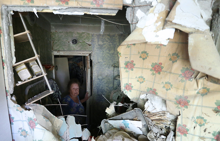 A shelled living house in Donetsk