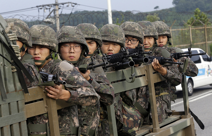 South Korean army soldiers in Paju, south of the demilitarized zone that divides the two Koreas