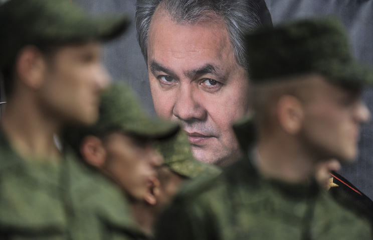 A portrait of Sergey Shoigu seen at a training range in Russia
