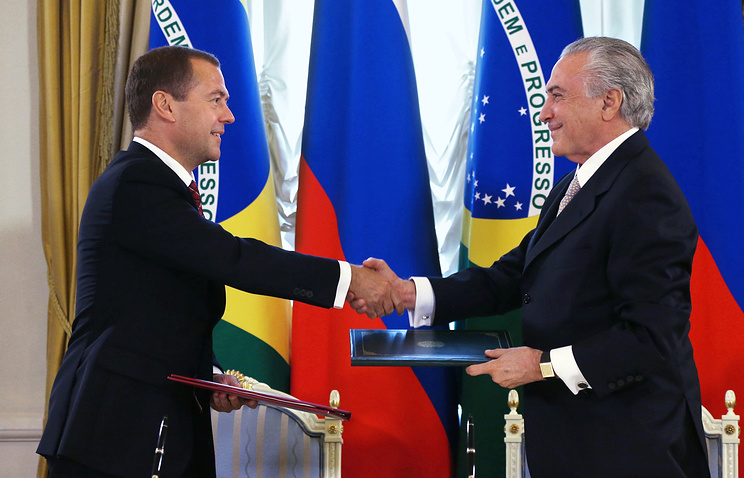 Russian Prime Minister Dmitry Medvedev and Brazilian Vice President Michel Temer at the meeting of the Russian-Brazilian High-Level Cooperation Commission in Moscow