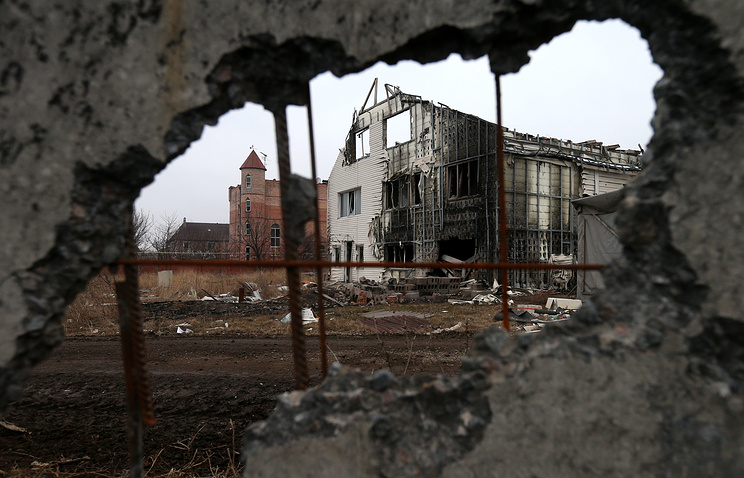Houses damaged during military operations in Donetsk region