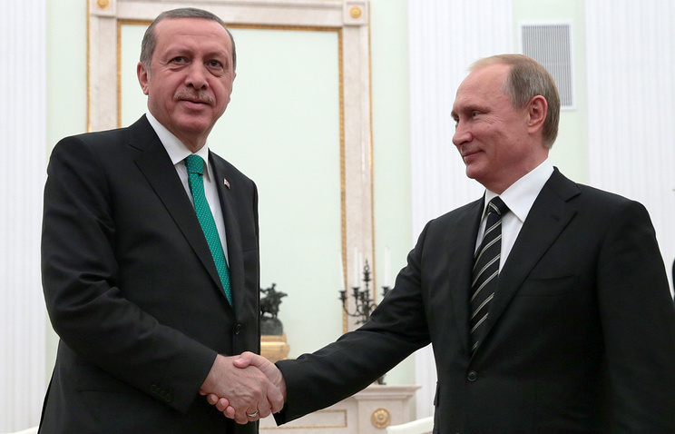 Turkish and Russian presidents Recep Tayyip Erdogan and Vladimir Putin