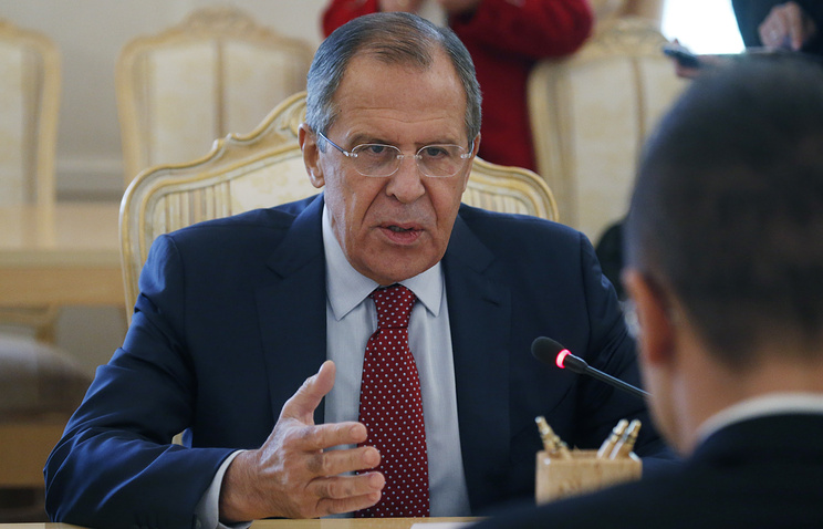 Russian foreign minister Sergey Lavrov at the meeting with his Hungarian counterpart Peter Szijjarto