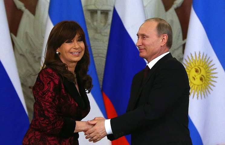 The presidents of Argentina and Russia in April 2015