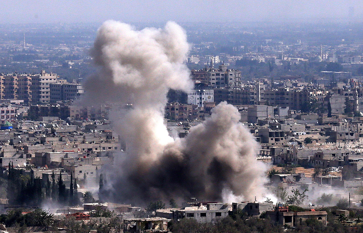 An airstrike delivered by the Russian Air Force in Harasta, Damascus