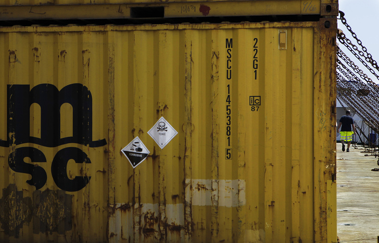 Containers with Syria's dangerous chemical weapons