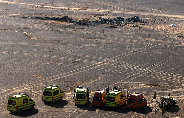 The site of Russian aircraft crash in Egypt's Sinai Peninsula