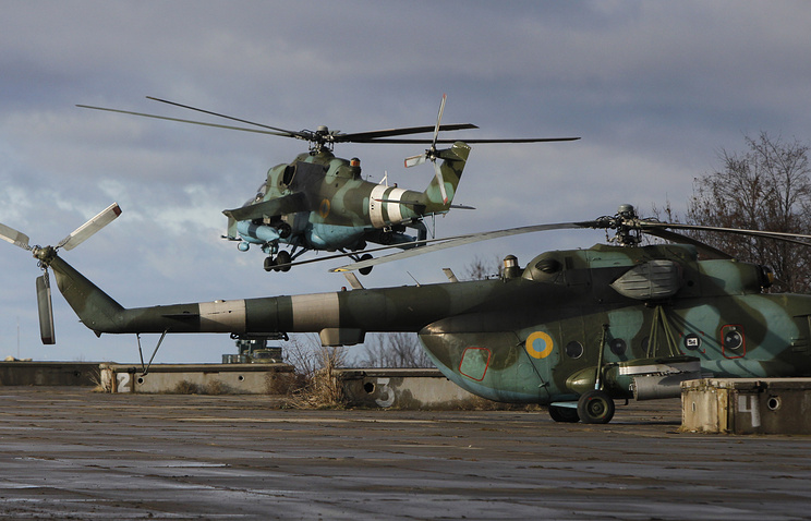 Helicopters at a military base of the Ukrainian government army