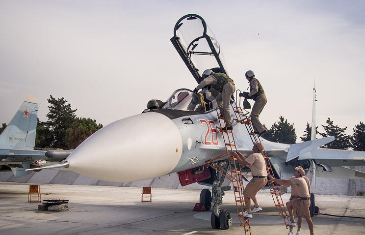 Russian military contingent at airbase in Syria
