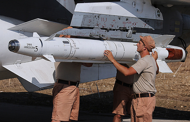 Russian military personnel at the air base in Syria