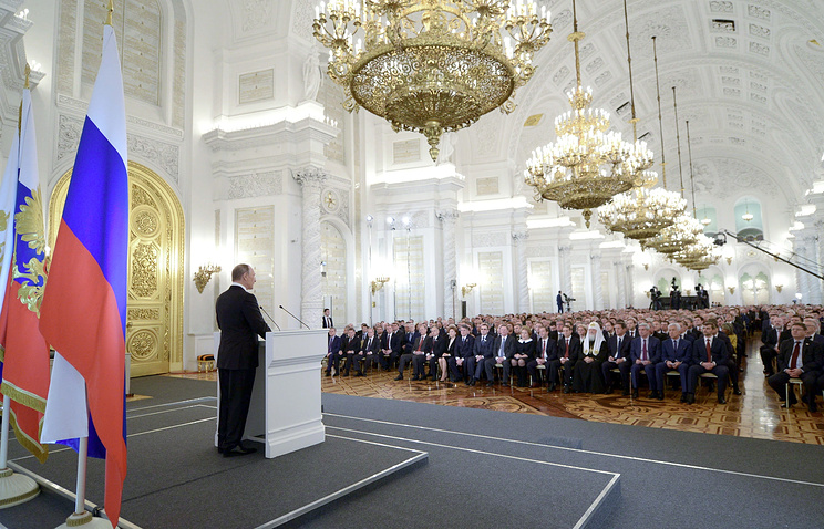 Russia's President Vladimir Putin delivering his annual address to the Federal Assembly