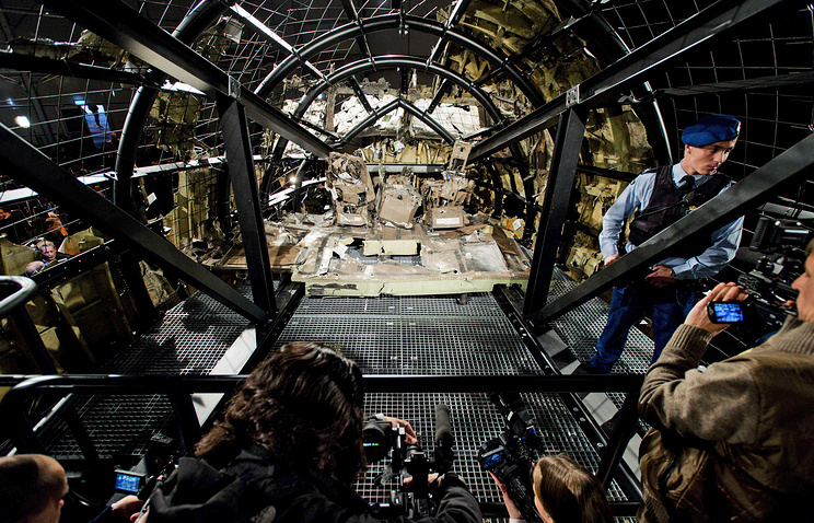 View of the rebuilt cockpit section of the rebuilt fuselage of Malaysia Airlines flight MH17