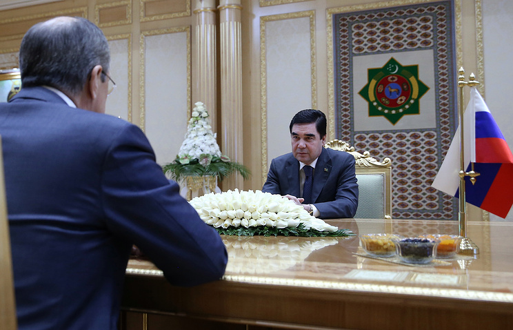 Turkmenistan's President Gurbanguly Berdimuhamedow at the meeting with Russian Foreign Minister Sergey Lavrov