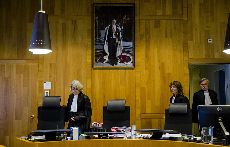The judges prior to the civil case of the Russian Federation against Yukos Universal in Permanent Court of Arbitration in The Hague, the Netherlands, 09 February 2016