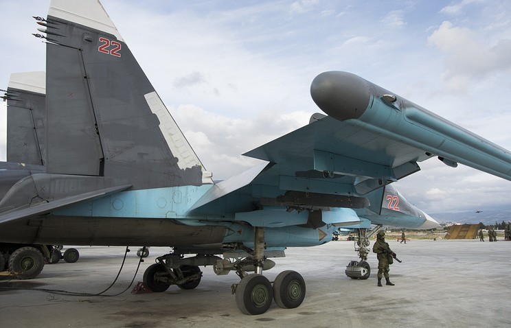 Russian warplane at the air base in Syria