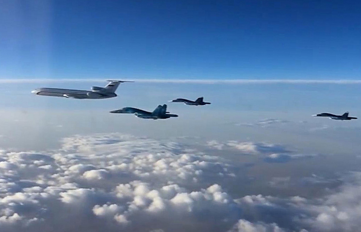 The first group of Russian aircraft during the flight from Syria to Russia