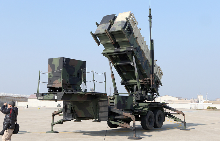 A Patriot missile system unveiled by the US military during the joint South Korea-US aerial exercise