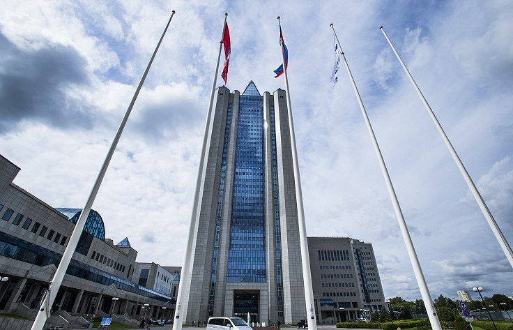 Headquarters of Russia's state-run natural gas giant Gazprom