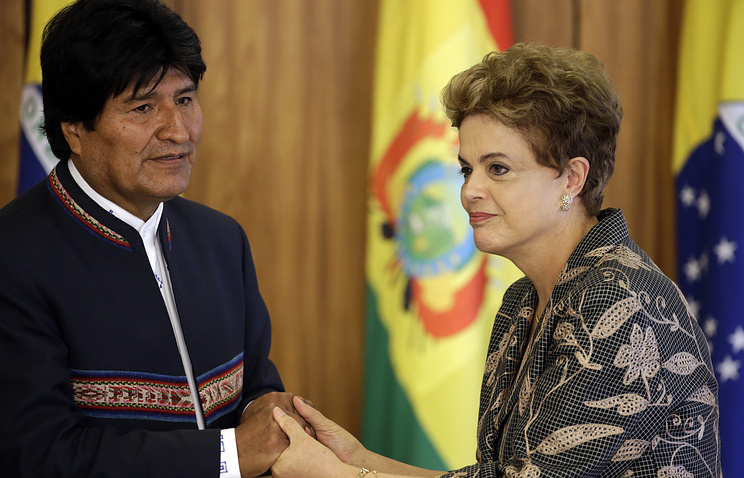 Bolivian President Evo Morales and Dilma Rousseff