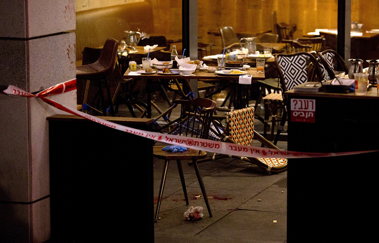 The site of a shooting attack in Tel Aviv, Israel