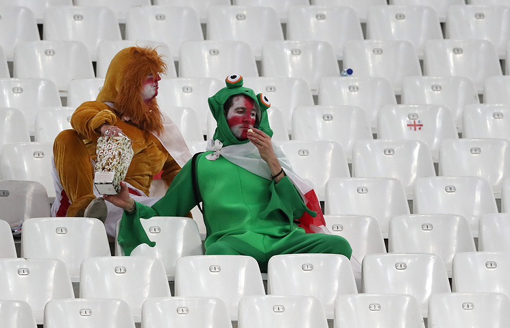 England supporters sit in the stands at the end of the Euro 2016 Group B soccer match between England and Russia, at the Velodrome stadium, in Marseille