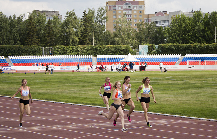 Russia's athletes at the National track and field championships at a stadium in Cheboksary, Russia