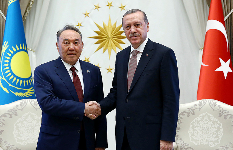 President of Kazakhstan Nursultan Nazarbayev and Turkey's President Recep Tayyip Erdogan