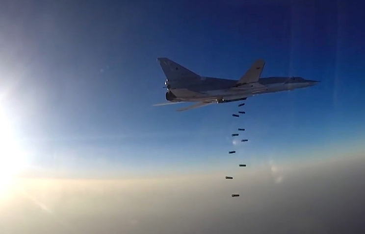 A Tupolev Tu-22M3 long-range bomber carries out airstrikes against ISIS and Al-Nusra Front targets in the Aleppo, Dayr al-Zawr and Idlib Governorates. This is the first time Russia's Aerospace Forces carry out air strikes against terrorist targets in Syria operating from Iran's Hamedan Air Base