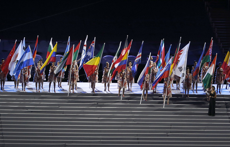 Flags of the participating countries on a podium during the opening ceremony of the Rio 2016 Paralympic games in Rio de Janeiro