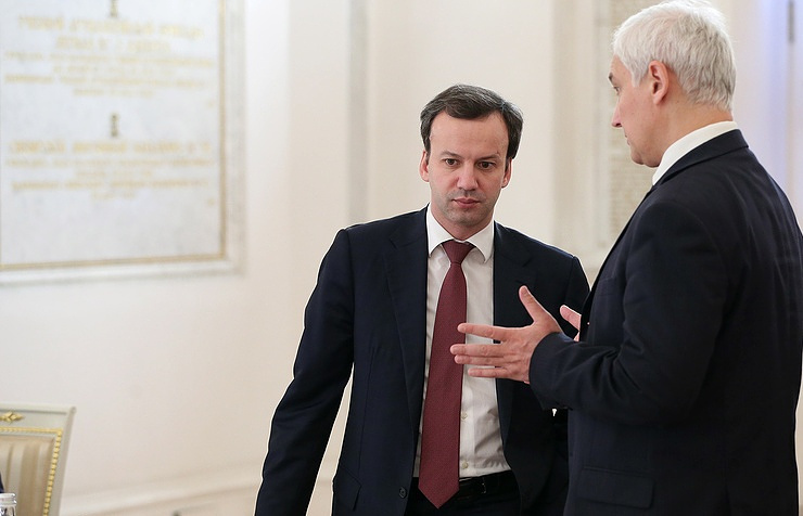 Russia's Vice-Premier Arkady Dvorkovich and presidential aide Andrei Belousov