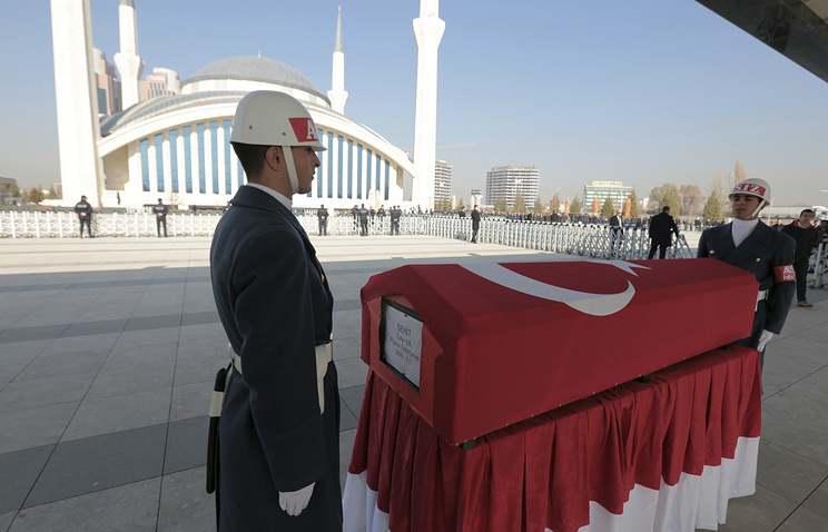 A funeral ceremony for Turkish army officers killed in Syria