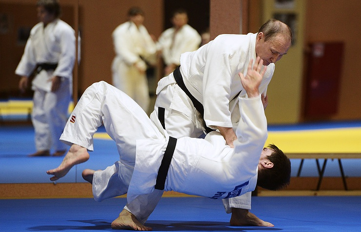 Vladimir Putin during the Russian team's training
