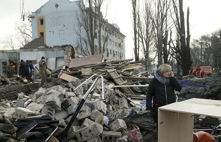 Aftermath of the shelling in Donetsk, eastern Ukraine