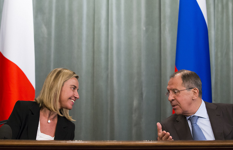 Then Italian Foreign Minister Federica Mogherini and Russian Foreign Minister Sergey Lavrov, 2014