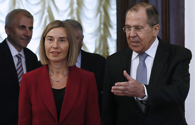 EU High Representative for Foreign Affairs and Security Policy Federica Mogherini and Russian Foreign Minister Sergey Lavrov