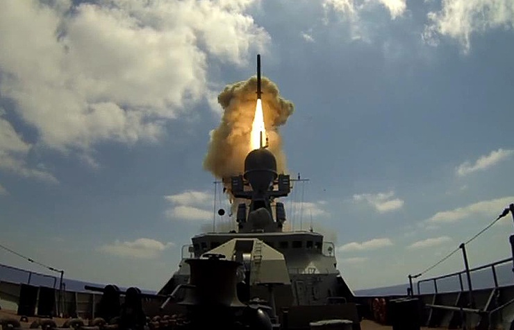 Russian warship, sub fire cruise missiles at IS in Syria